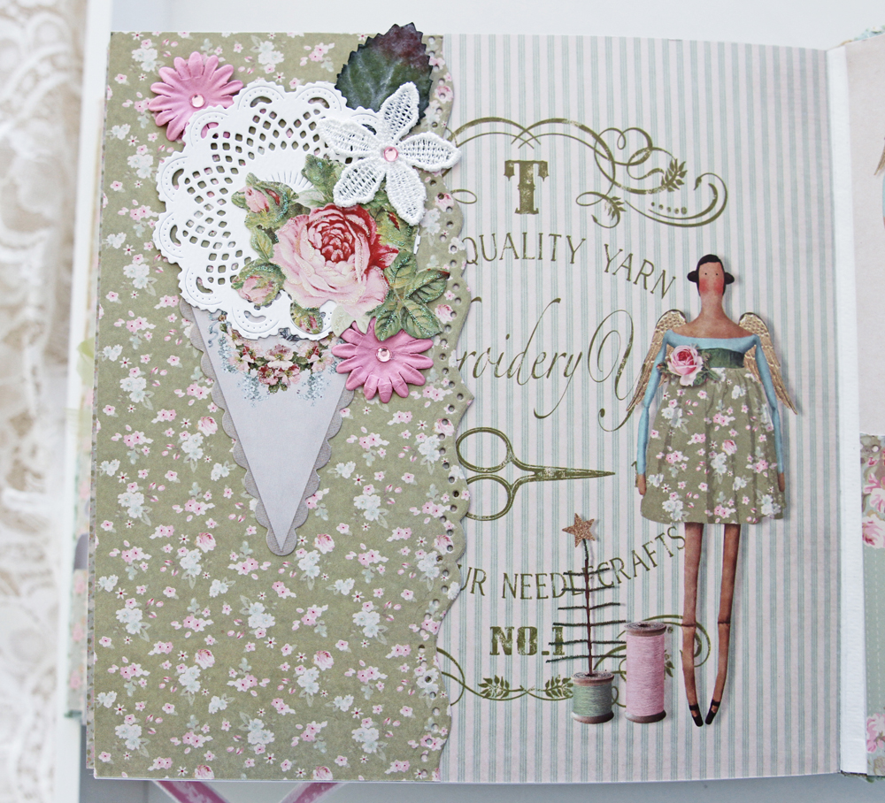 Gothriftycrafter Tilda album scrapbook page 6 close upjpg