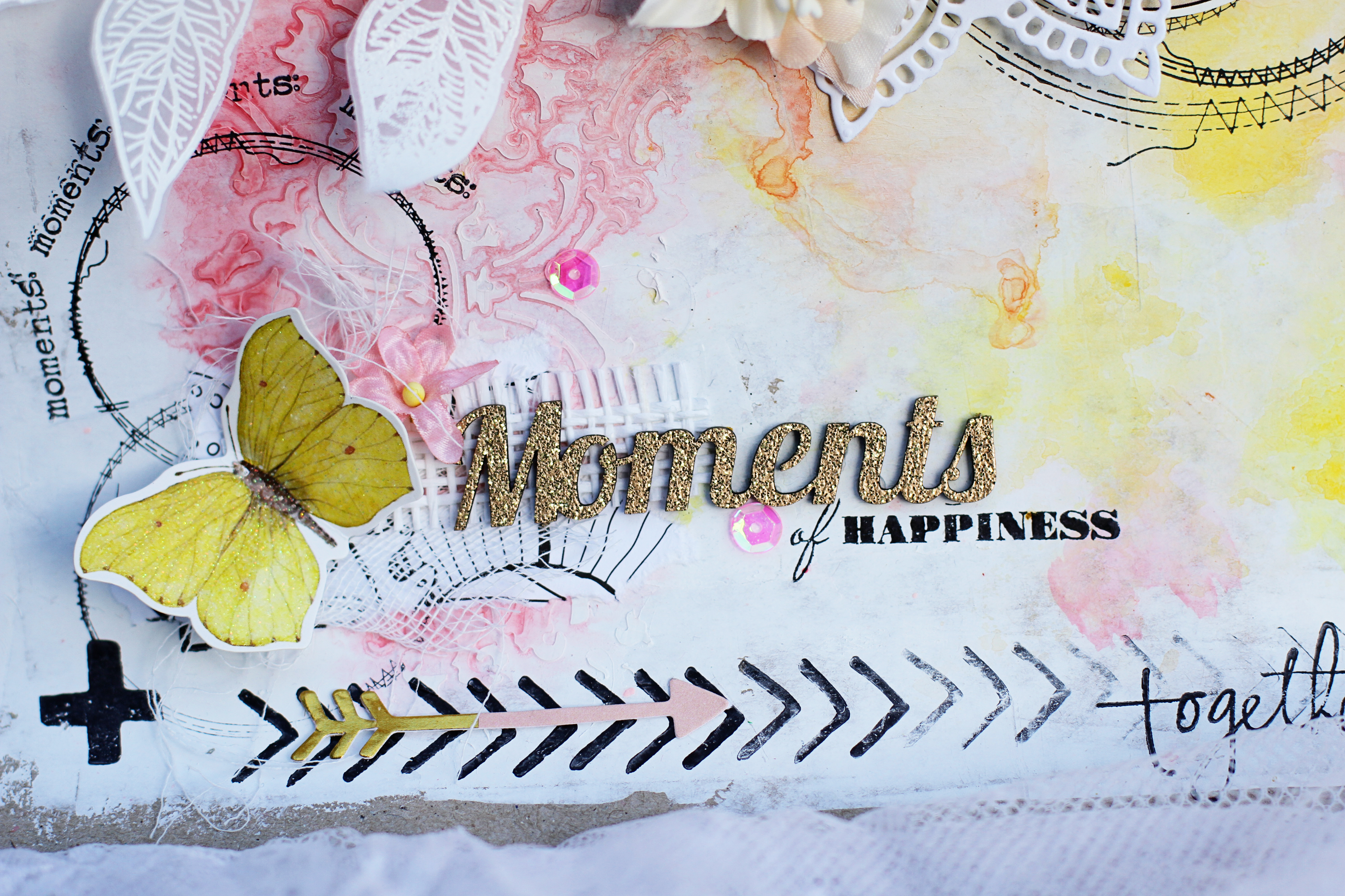 "Water colour layout ""Moments of Happiness"""